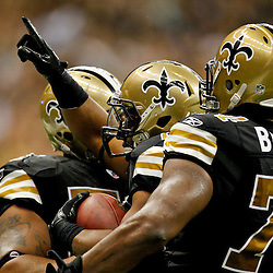 September 25, 2011; New Orleans, LA, USA; New Orleans Saints running back Mark Ingram (28) celebrates following a touchdown against the Houston Texans during the fourth quarter at the Louisiana Superdome. The Saints defeated the Texans 40-33. Mandatory Credit: Derick E. Hingle