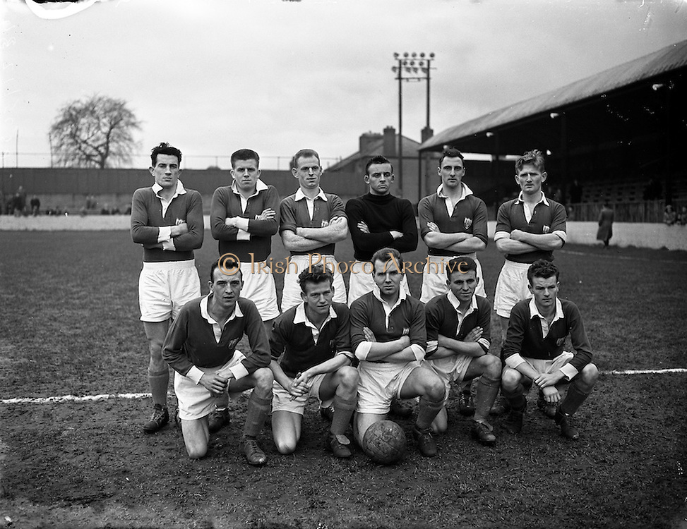 29/12/1957<br /> 12/29/1957<br /> 29 December 1957<br /> Soccer: Drumcondra v Cork Hibernians at Tolka Park, Dublin. The Cork Hibs. Team.
