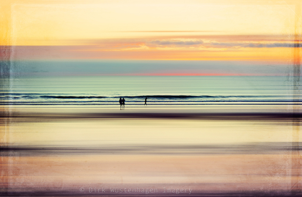 Abstraction of people on a beach at sunset<br />