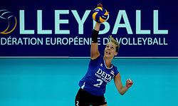 07-09-2013 VOLLEYBAL: EK VROUWEN DUITSLAND - NEDERLAND: HALLE<br /> Nederland verliest met 3-2 van Duitsland / Femke Stoltenborg<br /> &copy;2013-FotoHoogendoorn.nl