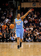 Dec. 22, 2011; Phoenix, AZ, USA; Denver Nuggets point guard Andre Miller (24) reacts on the court against the Phoenix Suns during a preseason game at the US Airways Center. Mandatory Credit: Jennifer Stewart-US PRESSWIRE.