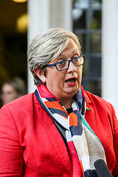 © Licensed to London News Pictures. 17/09/2019. London, UK. Joanna Cherry QC MP - SNP MP for Edinburgh South West speaks with a reporter outside UK Supreme Court in London as the court begins a three day appeal hearing in the multiple legal challenges against the Prime Minister Boris Johnson's decision to prorogue Parliament ahead of a Queen's speech on 14 October. Eleven instead of the usual nine Supreme Court justices will hear the politically charged claim that Boris Johnson acted unlawfully in advising the Queen to suspend parliament for five weeks in order to stifle debate over the Brexit crisis. It is the first time the Supreme Court has been summoned for an emergency hearing outside legal term time. Lady Hale, the first female president of the court who retires next January, will preside. Photo credit: Dinendra Haria/LNP