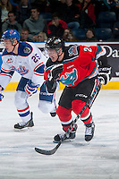 KELOWNA, CANADA - NOVEMBER 29: Jesse Lees #2 of Kelowna Rockets skates against the Regina Pats  on November 29, 2014 at Prospera Place in Kelowna, British Columbia, Canada.  (Photo by Marissa Baecker/Shoot the Breeze)  *** Local Caption *** Jesse Lees;