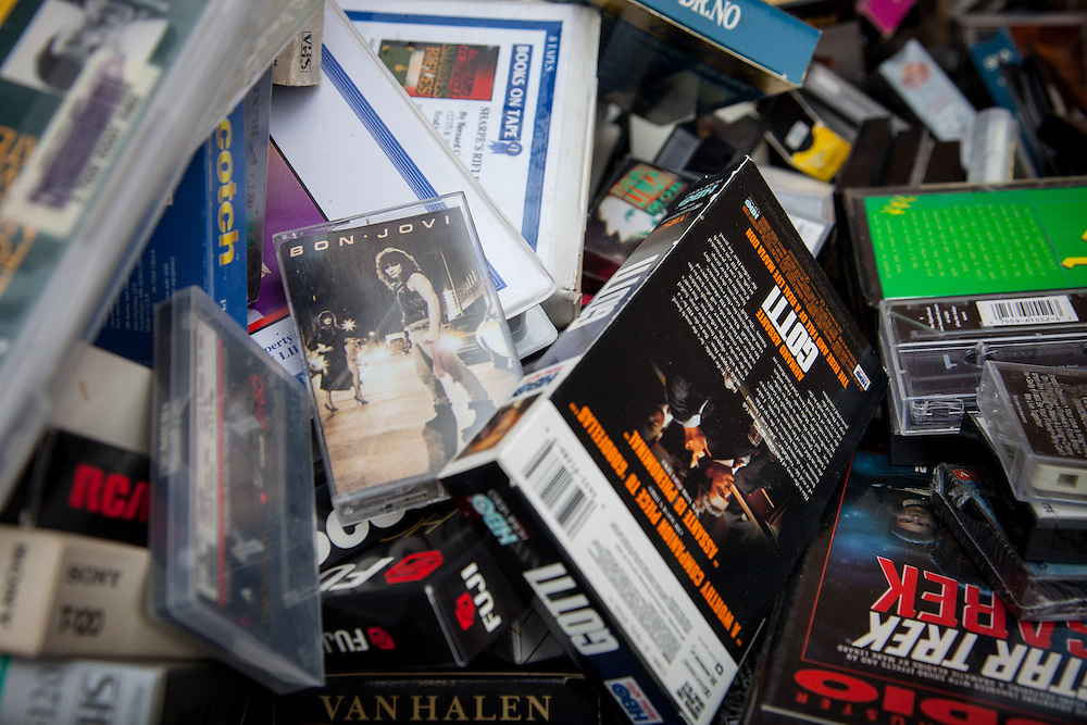 Old cassette tapes and video tapes were collected on Saturday as part of the Electronics Recycling Day. Photo by Ohio University / Jonathan Adams