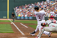 Joe Mauer #7 of the Minnesota Twins bats against the Philadelphia Phillies on June 11, 2013 at Target Field in Minneapolis, Minnesota.  The Twins defeated the Phillies 3 to 2.  Photo: Ben Krause
