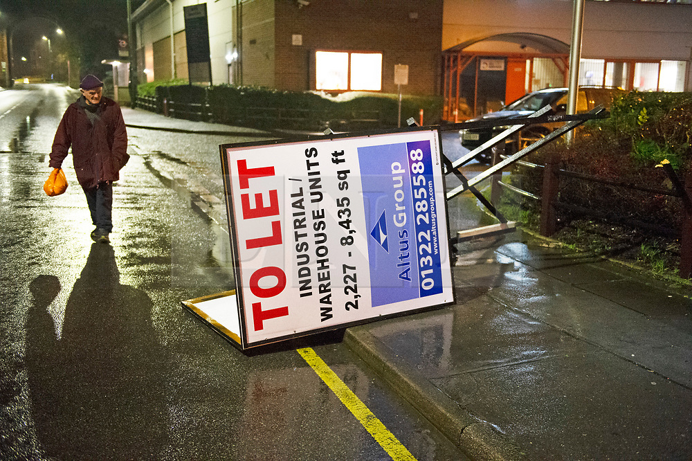 ©Licensed to London News Pictures 14/01/2020<br /> Orpington, UK. Storm Brendan has blown down a 12ft high To Let sign in St Mary Cray, Orpington, Kent. Leaving the sign sitting across a pathway and in the road. Photo credit: Grant Falvey/LNP