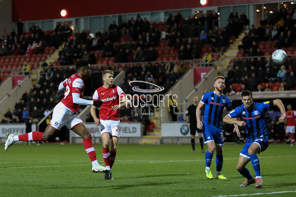 Rotherham United midfielder Chiedozie Ogbene (19) heads towards goal during the EFL Sky Bet League 1 match between Rotherham United and Rochdale at the AESSEAL New York Stadium, Rotherham, England on 7 December 2019.