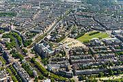 Nederland, Noord-Holland, Amsterdam, 29-06-2018; Amsterdam-Zuid, Museumkwartier. Met aan het Museumplein Concert Gebouw, Rijksmuseum, Van Goghmuseum, Stedelijk Museum.  Ruiysdaelkade, Nassaukade, Oude Pijp.<br /> Museum quarter.<br /> View of the old town, w belt of canals.<br /> luchtfoto (toeslag op standard tarieven);<br /> aerial photo (additional fee required);<br /> copyright foto/photo Siebe Swart