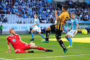 MALMO, SWEDEN - MAY 20: Fredrik Andersson of Malmo FF and Moestafa El Kabir of BK Hacken during the Allsvenskan match between Malmo FF and BK Hacken at Malmo Stadion on May 20, 2018 in Malmo, Sweden. Photo by Lars Dareberg/Ombrello ***BETALBILD***