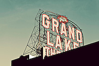Art-deco Grand Lake Theatre movie house marquee. Oakland, CA.  Copyright 2012 Reid McNally.