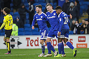 Rhys Healey of Cardiff City celebrates his goal with Matthew Kennedy and Kadeem Harris during the EFL Sky Bet Championship match between Cardiff City and Burton Albion at the Cardiff City Stadium, Cardiff, Wales on 21 January 2017. Photo by Andrew Lewis.