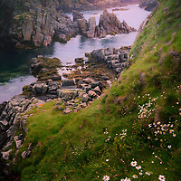 Slains Castle overlooks the North Sea from its cliff-top site 1 kilometre east of Cruden Bay