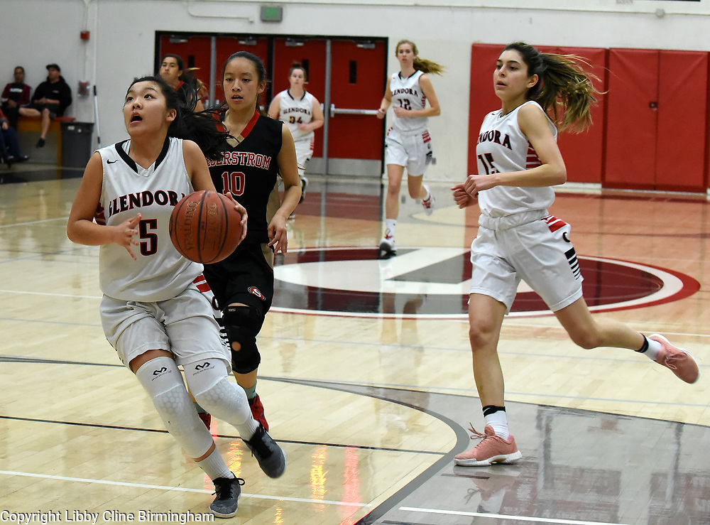 Glendora's  in the first half of a second round CIF girls basketball game against Segerstrom  at Glendora High School in Glendora, Calif., on Saturday, Feb. 17, 2018. (Photo by Libby Cline Birmingham)
