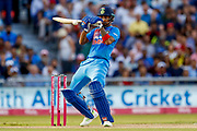 India T20 all rounder KL Lokesh Rahul plays one late  during the International T20 match between England and India at Old Trafford, Manchester, England on 3 July 2018. Picture by Simon Davies.