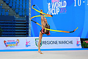 Vass Dora during qualifying at ribbon in Pesaro World Cup at Adriatic Arena on April 11, 2015. Dora was born in Budapest on September 08,1991. She is a rhythmic gymnast since 1999 and member of the Hungarian National Team since 2004.