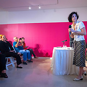 MAY 29, 2018--MIAMI, FLORIDA<br /> Dr. Ariana Hernandez-Reguant, research assistant professor at Tulane University, right, introduces Dr. Ann Markusen, from the University of Minnesota, during her talk as part of the By the People: Designing a Better America lectures at Miami Dade College's Freedom Tower .<br /> (PHOTO BY ANGELVALENTIN/FREELANCE)
