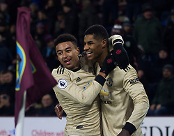 Marcus Rashford of Manchester United (R) celebrates after scoring his sides second goal - Mandatory by-line: Jack Phillips/JMP - 28/12/2019 - FOOTBALL - Turf Moor - Burnley, England - Burnley v Manchester United - English Premier League