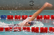 Cedar Rapids Washington's Jackie Hughes swims the backstroke section of the 200 yard Individual Medley during the MVC Girls Swimming Championships at Washington High School in Cedar Rapids on Saturday October 13, 2012. Hughes placed third in the event with a time of 2:15.66.