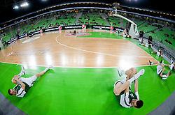 Klemen Prepelic and Drazen Bubnic of Union Olimpija prior to the basketball match between KK Union Olimpija and Mapooro Cantu (ITA) in 6th Round of Regular season of Euroleague 2012/13 on November 15, 2012 in Arena Stozice, Ljubljana, Slovenia. (Photo By Vid Ponikvar / Sportida)