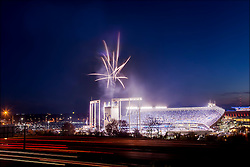 Photo of Kauffman Stadium in Kansas City, Missouri at the start of the Royals / Toronto Blue Jays playoff game on the evening of Friday, October 23, 2015. The Royals defeated the Blue Jays to move on to the 2015 MLB World Series against the New York Mets.