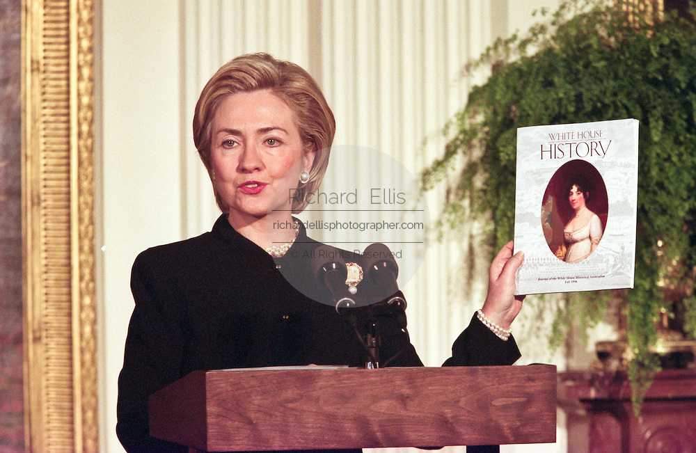 First lady Hillary clinton releases a Dolly Madison commemorative silver dollar coin in honor of the former first lady at the White House January 11, 1999 in Washington, DC. The coin was authorized to commemorate the 150th anniversary of the death of First Lady Dolley Madison.