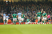 Luke Fitzgerald of Ireland scores his teams first try during the Rugby World Cup Quarter Final match between Ireland and Argentina at Millennium Stadium, Cardiff, Wales on 18 October 2015. Photo by Shane Healey.