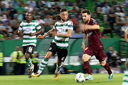 September 27, 2017 - Lisbon, Portugal - Barcelona's Argentine forward Lionel Messi (R ) in action during the UEFA Champions League football match Sporting vs Barcelona at the Alvalade stadium in Lisbon, Portugal on September 27, 2017. Photo: Pedro Fiuza  (Credit Image: © Pedro Fiuza/NurPhoto via ZUMA Press)