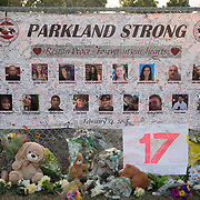 TUESDAY, FEBRUARY 27- 2018---PARKLAND, FLORIDA--<br /> Photos of victims signed by mourners at Marjory Stoneman Douglas High School is one of many mementos and offerings for the victims of February 14 school massacre.<br /> (Photo by Angel Valentin/FREELANCE)