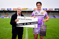 Player of the Month Tom Hendrickson of Exeter Chiefs after the final whistle of the match - Mandatory by-line: Ryan Hiscott/JMP - 12/10/2019 - RUGBY - Sandy Park - Exeter, England - Exeter Chiefs v Bristol Bears - Premiership Rugby Cup