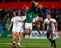 Charlie Ryan and Craig Casey of Ireland U20 attempt to gather possession - Mandatory by-line: Ken Sutton/JMP - 01/02/2019 - RUGBY - Irish Independent Park - Cork, Cork - Ireland U20 v England U20 -