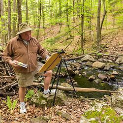 A man paints Orris Falls at the Orris Falls Preserve in South Berwick, Maine.