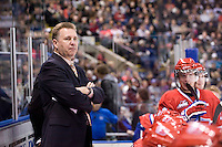 KELOWNA, CANADA, DECEMBER 27: Don Nachbaur, head coach of the Spokane Chiefs stands on the bench at the Kelowna Rockets on December 7, 2011 at Prospera Place in Kelowna, British Columbia, Canada (Photo by Marissa Baecker/Getty Images) *** Local Caption ***