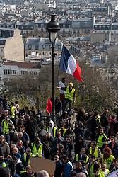 Several thousand people took part in act 19 of the Yellow Jackets (Gilets Jaunes) mobilization in Paris. A week after the violent clashes on the Champs-Elysées, the avenue was banned from demonstration and under high police surveillance, using drones among other means. The procession marched from Place Denfert-Rochereau to the Basilica of the Sacred Heart in peace and quiet. There were some clashes between police and demonstrators at the end of the day. Paris, France, March 23, 2019. Photo by Samuel Boivin / ABACAPRESS.COM