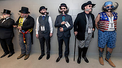 Sept.02, 2017 - Austin, Texas, U.S. - Contestants in the Imperial division queue up at the 2017 World Beard and Moustache Championships. The championships, hosted this year by the Austin Facial Hair Club, attracted over 700 competitors in 27 categories of facial hair growth and styling.(Credit Image: © Brian Cahn via ZUMA Wire)