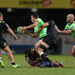 DURBAN, SOUTH AFRICA - MAY 05: S'busiso Nkosi of the Cell C Sharks tackling Ben Smith (cc) of the Pulse Energy Highlanders during the Super Rugby match between Cell C Sharks and Highlanders at Jonsson Kings Park Stadium on May 05, 2018 in Durban, South Africa. (Photo by Steve Haag/Gallo Images)