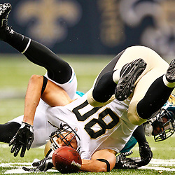 August 17, 2012; New Orleans, LA, USA; New Orleans Saints tight end Jimmy Graham (80) drops a pass against the Jacksonville Jaguars during the first quarter of a preseason game at the Mercedes-Benz Superdome. Mandatory Credit: Derick E. Hingle-US PRESSWIRE