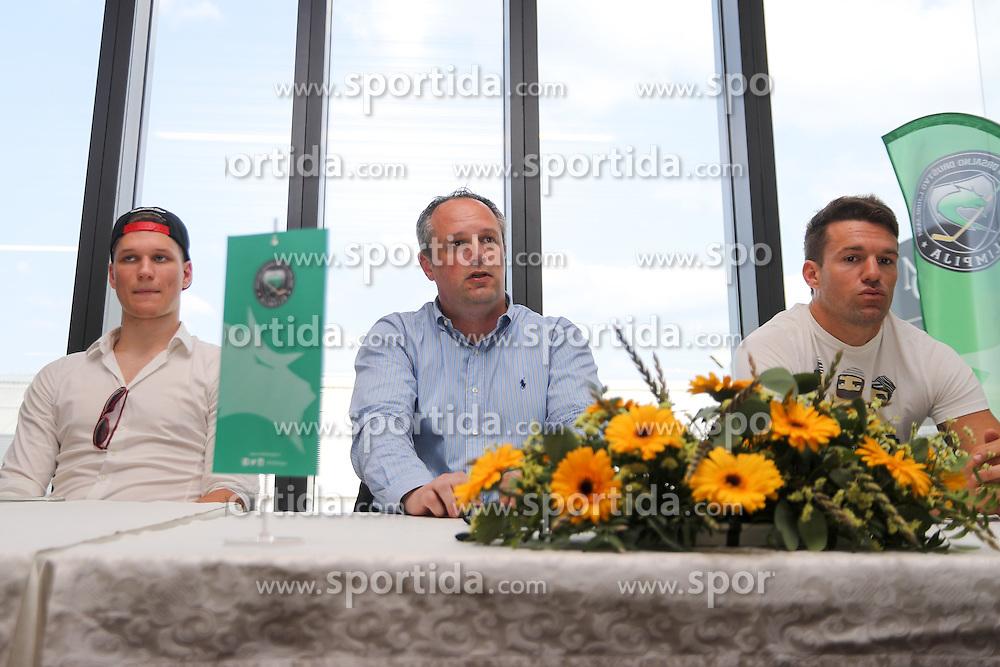 Kristjan Cepon, Marko Popovic and Anze Ropret at press conference of ice-hockey team HDD Olimpija Ljubljana on June 23, 2016 in DiVino, Ljubljana, Slovenia. Photo by Matic Klansek Velej / Sportida
