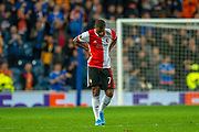 Luciano Narsingh (#7) of Feyenoord Rotterdam looks to the ground in disappointment at the final whistle of the Europa League match between Rangers FC and Feyenoord Rotterdam at Ibrox Stadium, Glasgow, Scotland on 19 September 2019.