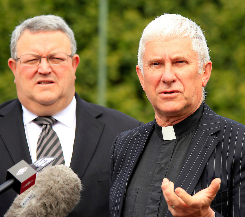 Earthquake Recovery Minister Gerry Brownlee, left and Dean Peter Beck at a press conference on the future of the Christchurch Cathedral, Christchurch, New Zealand, Friday, October 28, 2011.  Credit:SNPA / Pam Johnson
