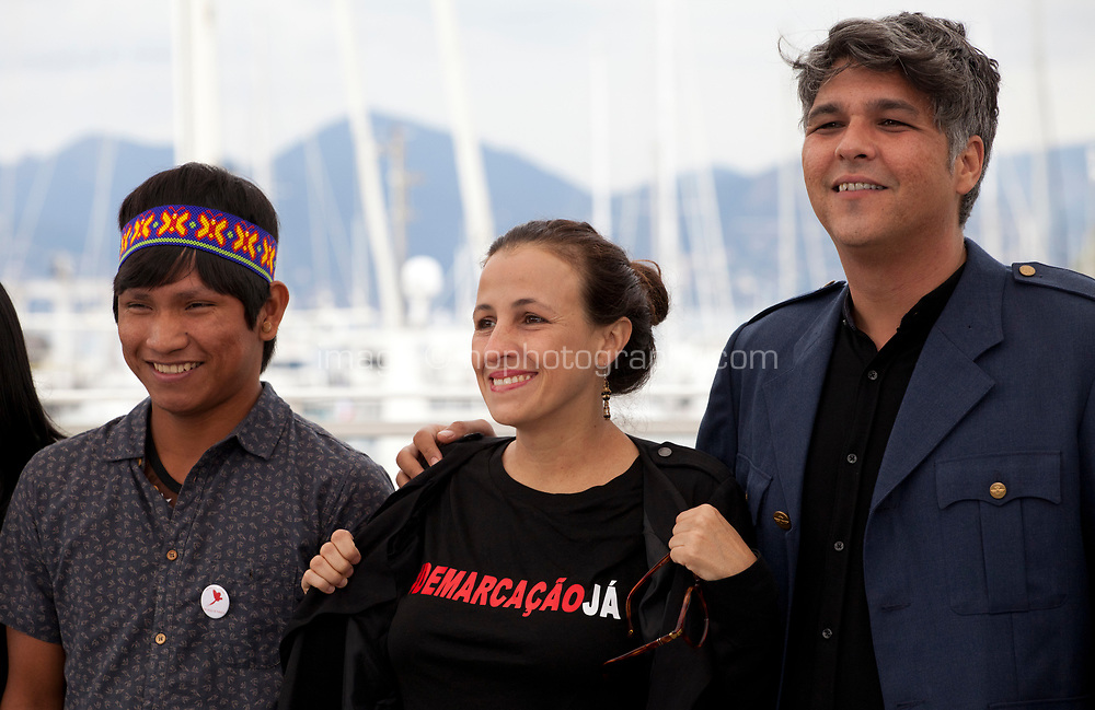 Ihjac Kraho, director Renee Nader Messora and Ricardo Alves Jr at the The Dead And The Others film photo call at the 71st Cannes Film Festival, Wednesday 16th May 2018, Cannes, France. Photo credit: Doreen Kennedy