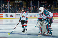 KELOWNA, CANADA - MARCH 7:  The Pepsi player of the game lines up alongside James Porter #1 of the Kelowna Rockets against the Vancouver Giants on March 7, 2018 at Prospera Place in Kelowna, British Columbia, Canada.  (Photo by Marissa Baecker/Shoot the Breeze)  *** Local Caption ***