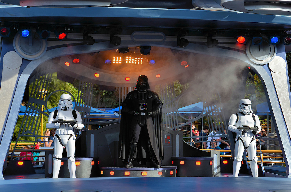 Star Wars Show in Tomorrowland at Disneyland in Anaheim, California<br /> I fondly remember when the George Lucas movie &ldquo;Star Wars&rdquo; was released in 1977 and I enjoyed both trilogies.  So the kid in me was thrilled to see Darth Vader appear in a cloud of smoke surrounded by Stormtroopers.  Unfortunately, only current kids under 12 are selected to become Padawans at the Jedi Training Academy and after taking the Jedi Oath, they ward off the evil villains with their lightsabers.