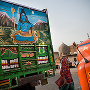 A truck in Jaipur features a depiction of the Indian god Shiva.