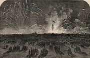 Crimean (Russo-Turkish) War 1853-1856. Fireworks at Blackheath near London,England, celebrating the fall of Sebastopol (Sevastopol), 11 September 1855.  From 'The Illustrated London News (London, 22 September 1855). Engraving.