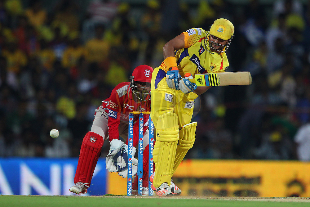 Suresh Raina of the Chennai Superkings  during match 24 of the Pepsi IPL 2015 (Indian Premier League) between The Chennai Superkings and The Kings XI Punjab held at the M. A. Chidambaram Stadium, Chennai Stadium in Chennai, India on the 25th April 2015.<br /> <br /> Photo by:  Ron Gaunt / SPORTZPICS / IPL