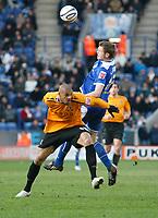 Photo: Steve Bond/Richard Lane Photography. <br />Leicester City v Hull City. Coca Cola Championship. 21/03/2008. Caleb Folan (L) is beaten in the air by Richard Stearman (R)
