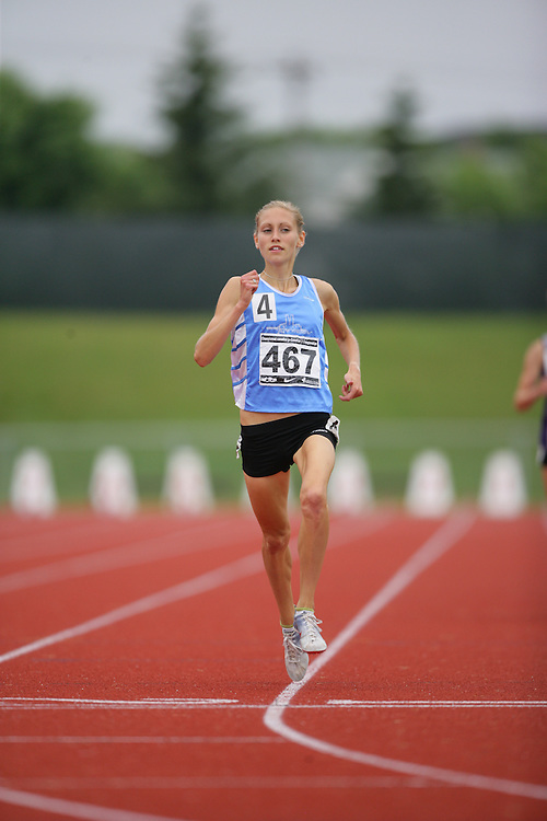 (Charlottetown, Prince Edward Island -- 20090718) Kendra Schaaf of Queen City Striders competes in the 1500m finals at the 2009 Canadian Junior Track & Field Championships at UPEI Alumni Canada Games Place on the campus of the University of Prince Edward Island, July 17-19, 2009.  Geoff Robins / Mundo Sport Images ..Mundo Sport Images has been contracted by Athletics Canada to provide images to the media.