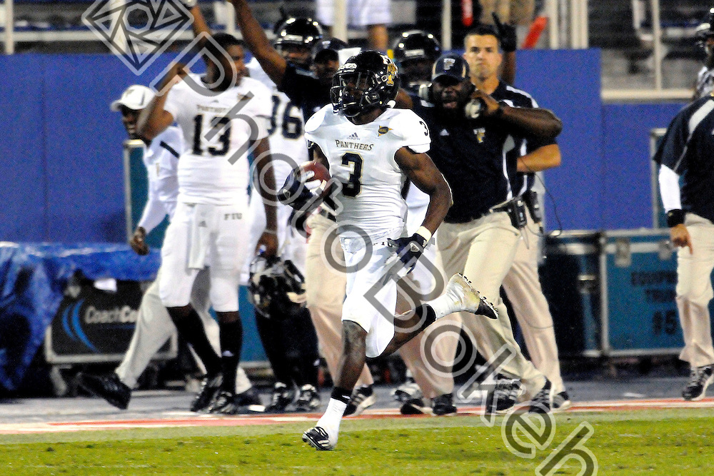 2012 November 16 - FIU cornerback Richard Leonard (3). .Florida International University Golden Panthers football defeated the Florida Atlantic Owls, 34-24, in the Schula Bowl, in Boca Raton, Florida. (Photo by: www.photobokeh.com / Alex J. Hernandez) This image is copyright PhotoBokeh.com and may not be reproduced or retransmitted without express written consent of PhotoBokeh.com. ©2012 PhotoBokeh.com - All Rights Reserved