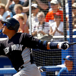March 8, 2011; Dunedin, FL, USA; New York Yankees third baseman Alex Rodriguez (13) at bat during the top of the first inning of a spring training game against the Toronto Blue Jays at Florida Auto Exchange Stadium. Mandatory Credit: Derick E. Hingle-US PRESSWIRE