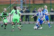 Brighton's Lucy Somes dribbles with the ball during the FA Women's Premier League match between Forest Green Rovers Ladies and Brighton Ladies at the Hartpury College, United Kingdom on 24 January 2016. Photo by Shane Healey.